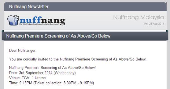 Jemputan Ke Premier Screening Filem As Above So Below Dari Nuffnang