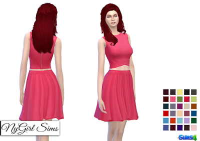 Sims 4 lace dress in red