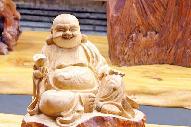 Buddha, statue, wooden table
