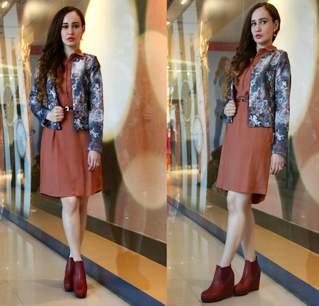 Femina FLAUNT Launch '15 at Shoppers Stop, Tan Dress, Floral Scuba Jacket, burgundy wedge ankle boots