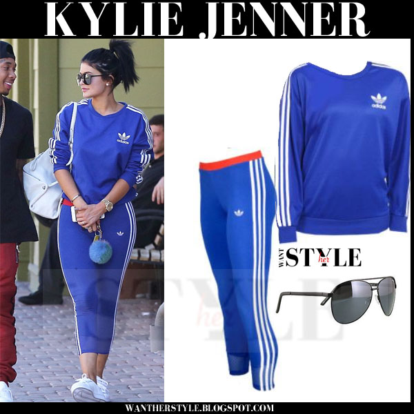 Kylie Jenner in blue Adidas sweatshirt and matching blue Adidas leggings what she wore streetstyle