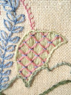 Surface Satin Stitch and Laid Work