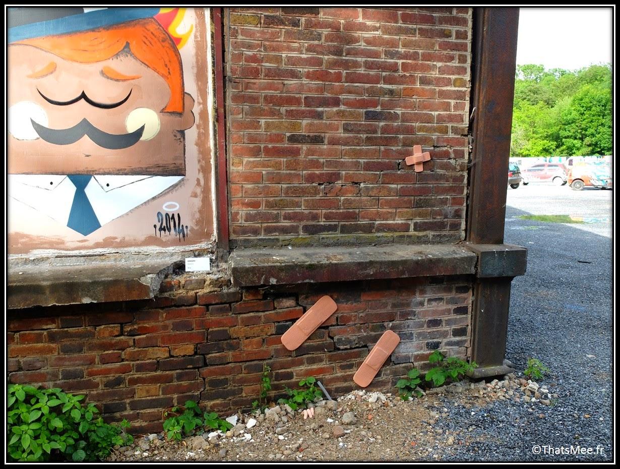 pansement silicone caoutchouc mur Festival Street Art In Situ Fort d'Aubervilliers 2014