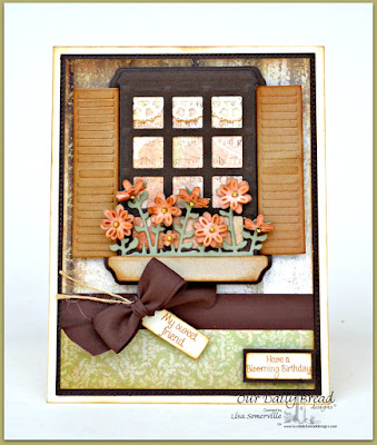 Our Daily Bread Designs Stamp sets: Home Sweet Home, ODBD Custom Dies, Flourished Star Pattern, Layered Lacey Squares, Welcoming Window, Window Shutter and Awning, Mini Tags, Flower Box Fillers, Our Daily Bread Designs Paper Collections: Shabby Rose, Blushing Rose