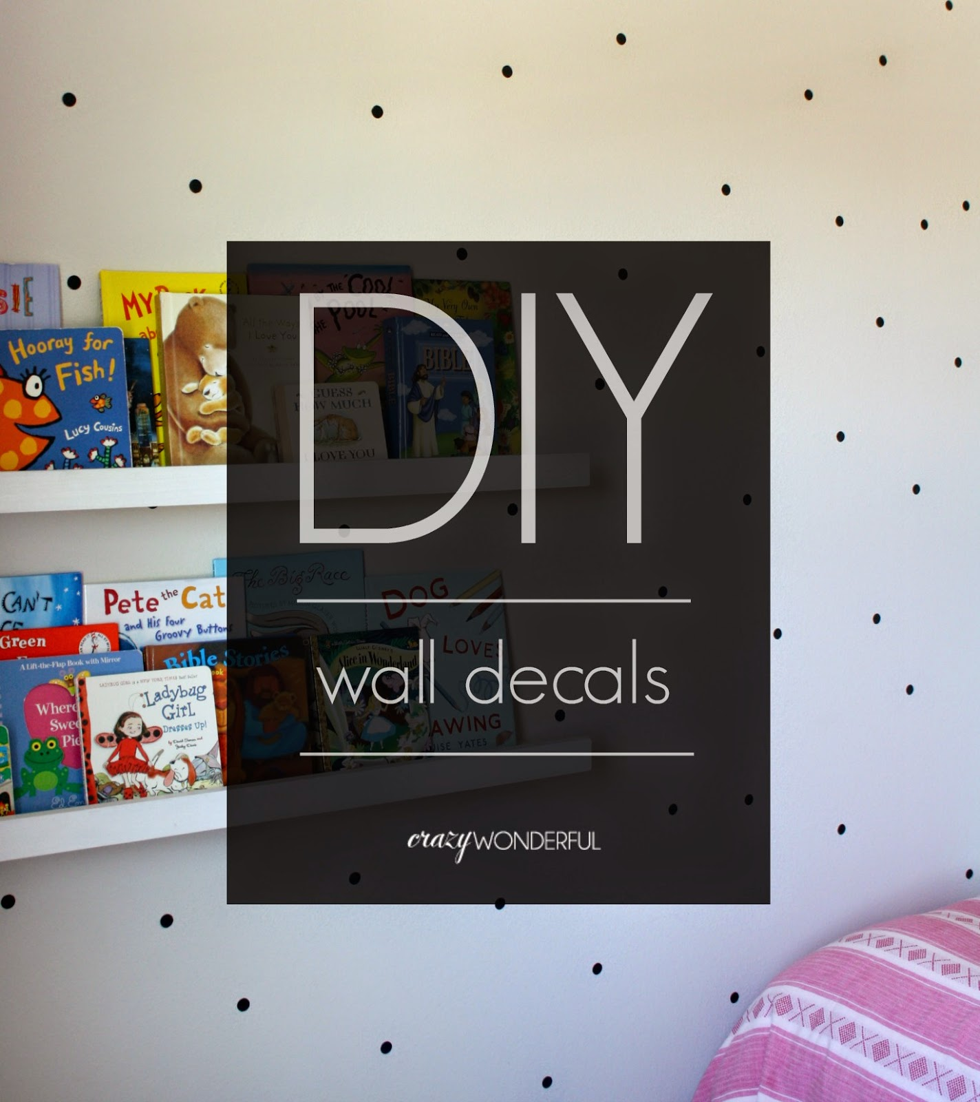 I had an itch to get it done, and I didn't want to wait for an order to come in, so I DIY'd me some polka dot wall decals!