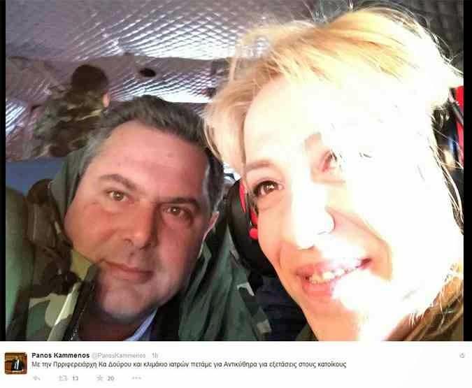 Σοβαρότης υπό το μηδέν! Οι Selfie πάνε σύννεφο στο twitter του Καμμένου