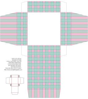 printable gift box- green and pink plaid