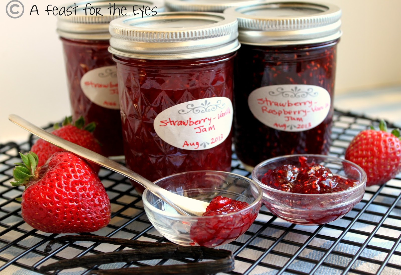 : Fresh & Easy Homemade Strawberry-Vanilla & Strawberry-Raspberry Jam...