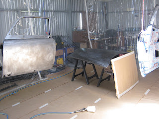 Spray booth made of plastic drop sheets