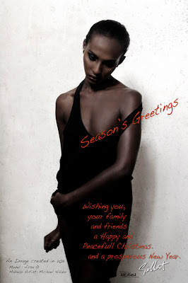 sydney fashion photographer gilbert rossi wishing everyone a merry xmas and happy new year, gilbert rossi's 2011 xmas card of studio fashion shoot of black model on white background