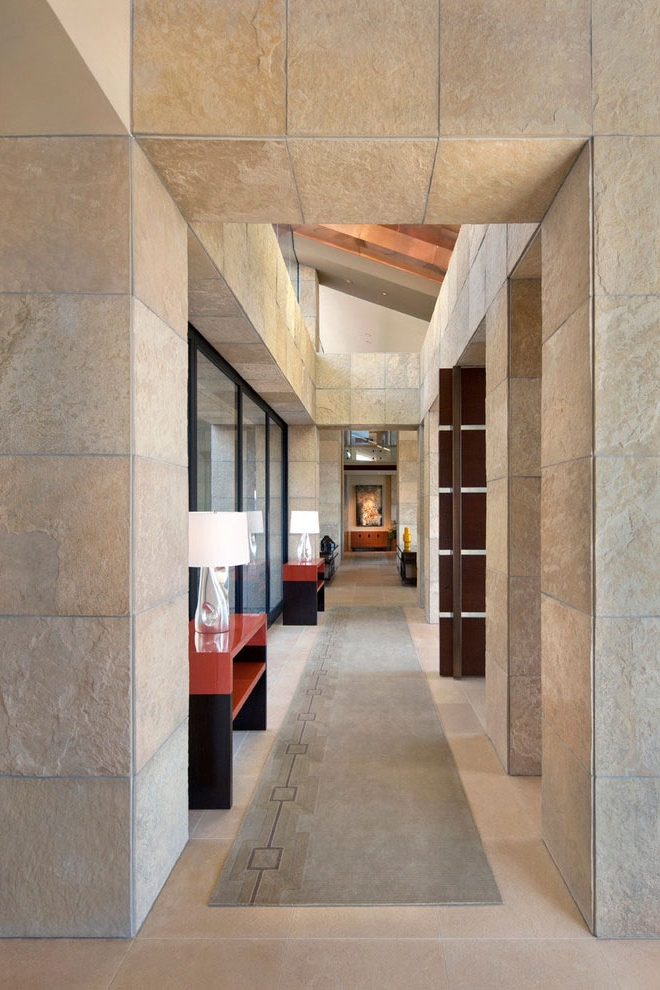 Stone walls in hallway of modern Dream home in the desert, Paradise Valley
