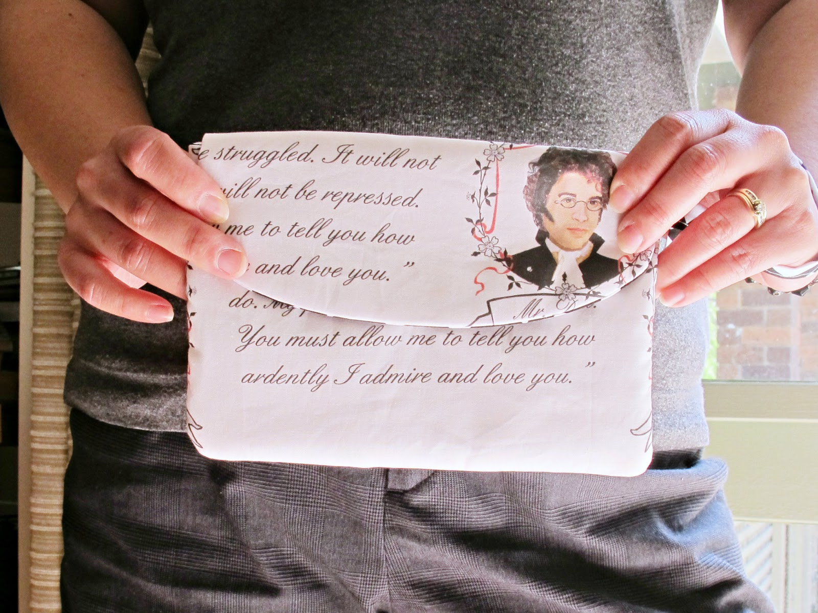 image mr darcy wristlet purse pride and prejudice jane austen spoonflower fabric