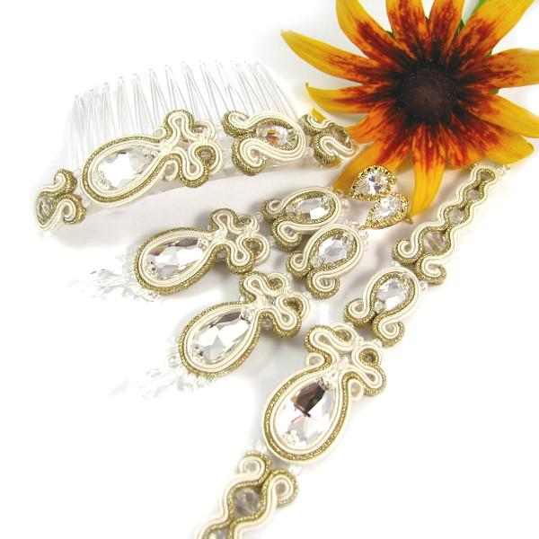 komplet ślubny soutache z kryształami swarovski