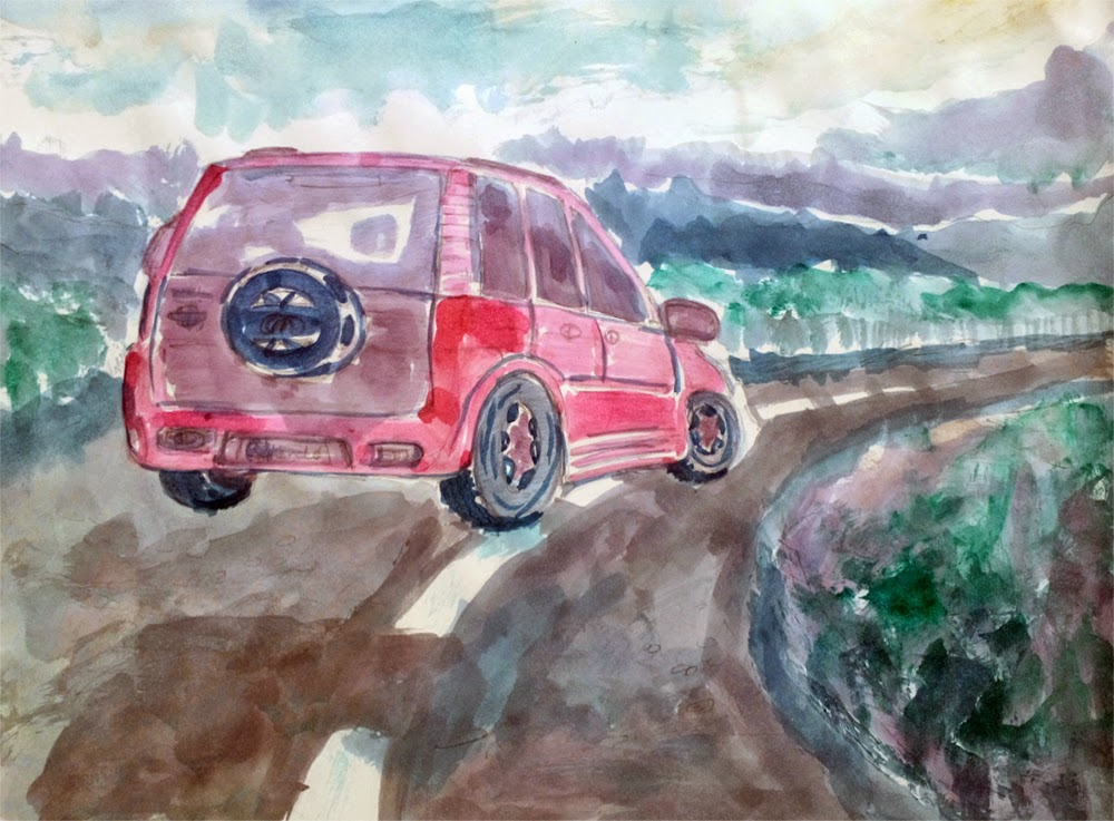 Watercolor Painting of Car