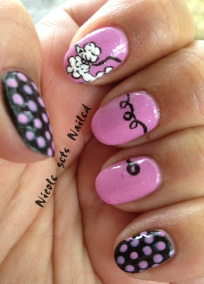 Pink Polka Dots on Black Poodle Skirt Nail Art