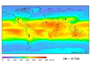 توزيعة الطاقة الشمسية فى مختلف أجزاء الكرة الأرضية