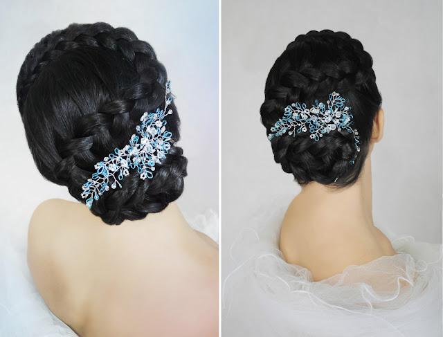 Romantyczna, elegancka fryzura ślubna z warkoczem, ozdobiona gałązkami Airy.
