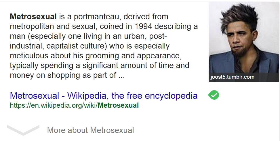 Google generates picture of Obama in Metrosexual search result