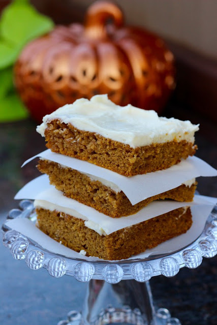 pumpkin bars with cream cheese icing/