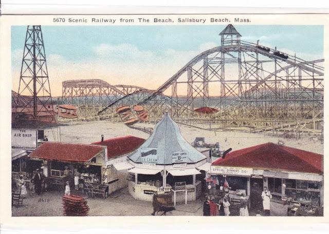 Antique, Postcard, Salisbury Beach, Massachusetts, rollercoaster, concessions, amusement