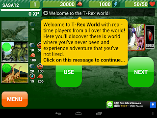 welcome message from t-rex world