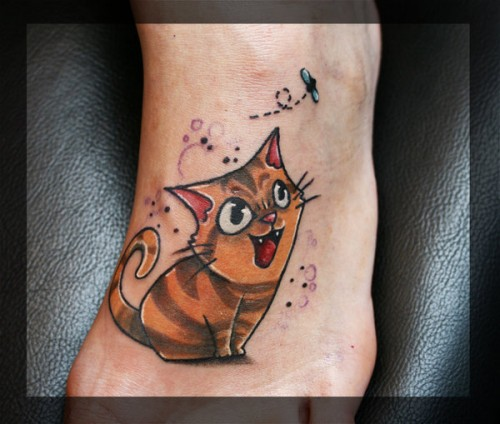 Above: A Cartoon Cat Tattoo Design  The Tattoo Artist Has Highlighted