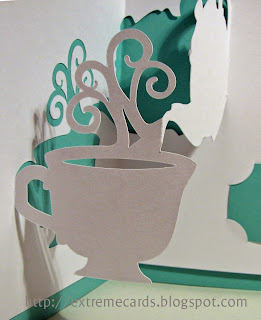 close up view tea cup pop up