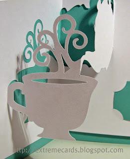 close up view tea cup pop up