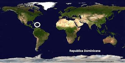Mapa de Republica Dominicana (planisferio)