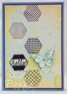 Pretty Hello Card with a watercolour background made with Stampin' Up! UK products - check it out here