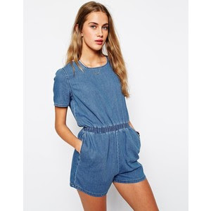 denim T-shirt romper offered by ASOS