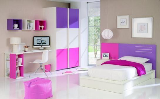 Dormitorio juvenil en rosa blanco y violeta deco for Decoracion de recamaras para adultos