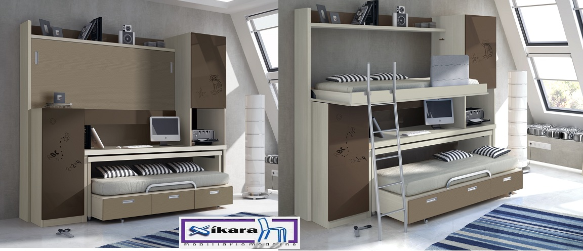 Camas abatibles para ni os for Cama nido con cajones y escritorio
