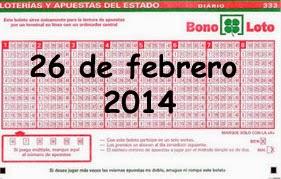 Bonoloto del miércoles 26 de febrero de 2014