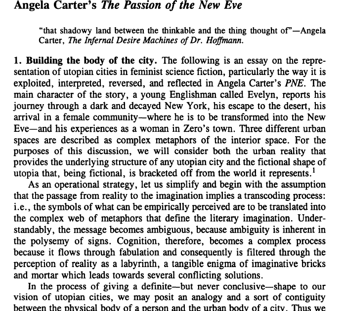 angela carter essay Angela carter was a fantasist with a salty turn of mind, a dissident with a utopian vision of possibilities in the midst of disaster, who always sprang surprises and challenged the conventional response, as in her controversial essay of the late 1970s, the sadeian woman, which found in the marquis de sade a paradoxical champion of women's.