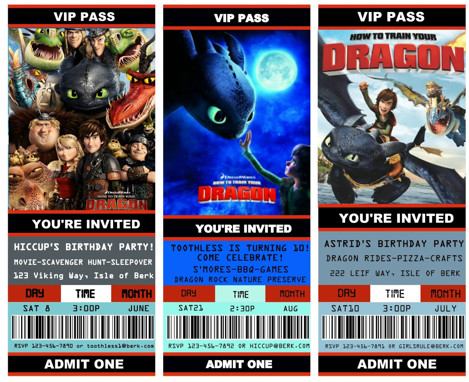 Free Printable Movie Ticket Style Invitations: How To Train Your Dragon  Movie Ticket Invitations Template