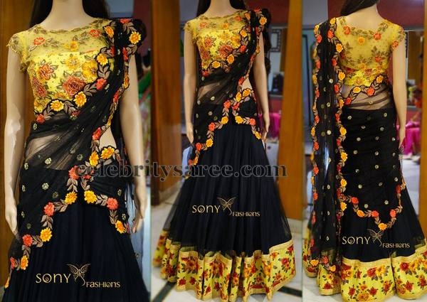 Black Floral Half Saree by Sony Reddy