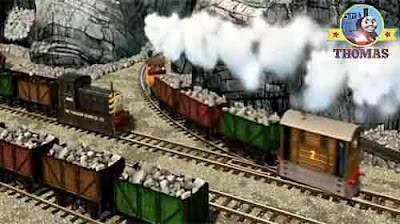 Tram Toby and Bash the tank engine quarry train Mavis the diesel engine at Sodor stone excavation