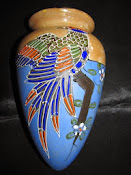 Hand Painted Japanese Wall Sconce/Pocket with flower H Mark Hotta Yu Shoten & Co