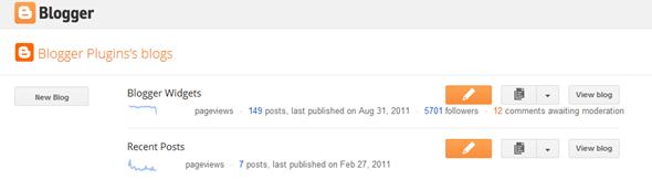 Dashboard baru Blogger