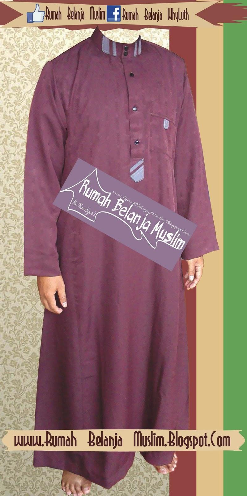Jubah Saudi Marun Plat