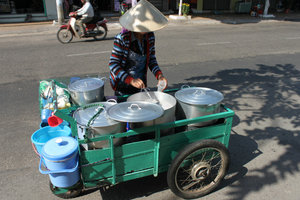 Selling sweet soup on a street in Phan Thiết city