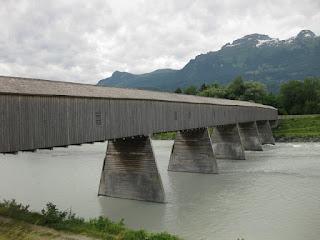 Alte Rheinbrücke, wooden bridge spanning the Rhine at Vaduz, Liechtenstein.