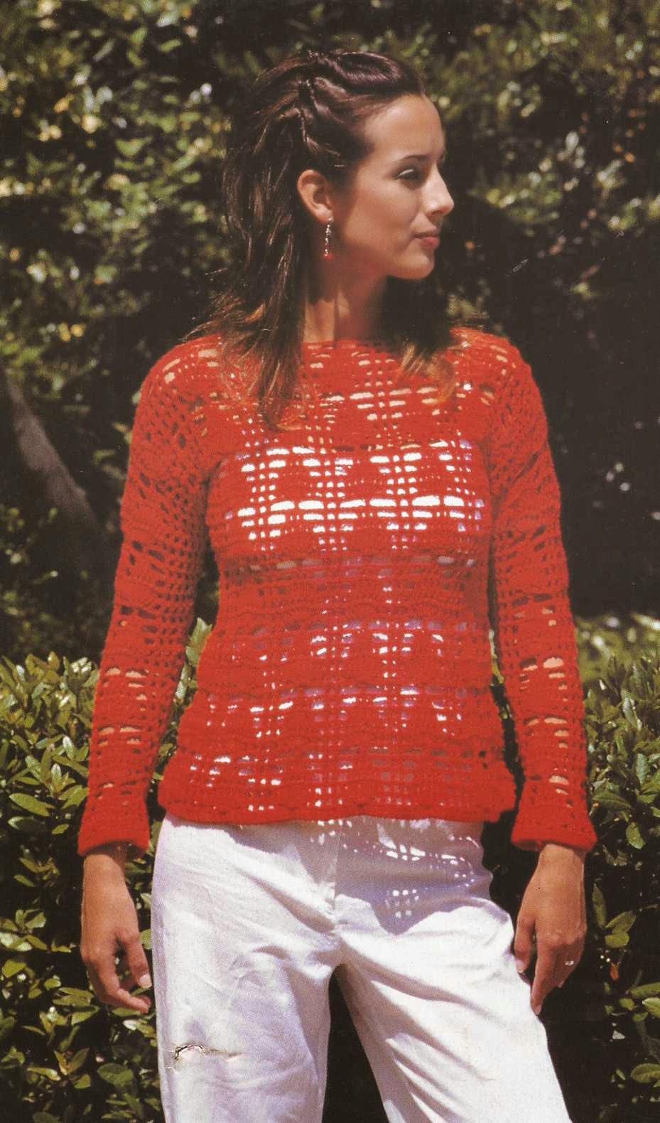 #4 Jersey o Blusa Roja a Crochet