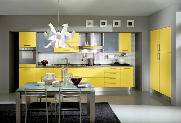 15 modern kitchen design ideas in bright color combinations for Grey yellow kitchen ideas