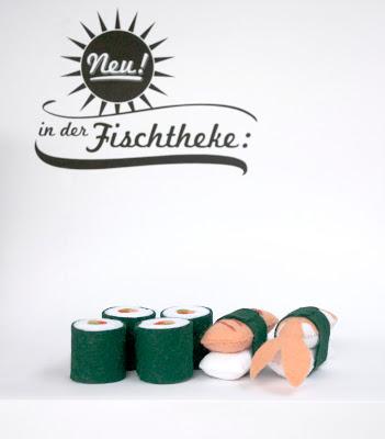raumdinge kaufladenzubeh r selber machen nr 7 sushi aus filz. Black Bedroom Furniture Sets. Home Design Ideas