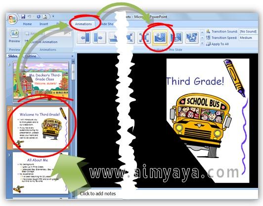 Gambar:  Cara membuat atau menambahkan animasi pergantian  antar slide di microsoft powerpoint