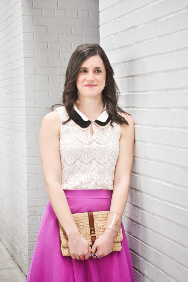 Styled by Shell B, lace top, J Crew skirt, purple skirt, Tory Burch cuff