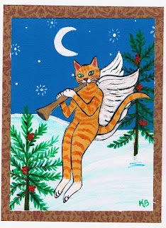 Orange Tabby Cat Angel Christmas Card at KimbasCritters