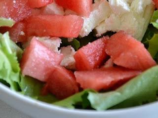 insalata di anguria, feta e olive